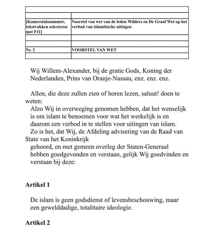 wetsvoorstel PVV betr islam als godsdienstjpg