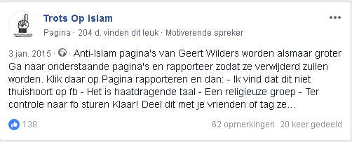 trots op islam groep doet PVV FB tarten