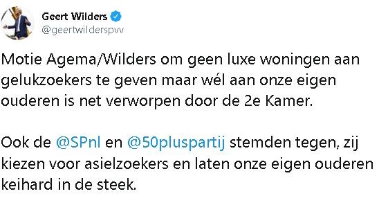 2020-01-21 Geert Wilders op Twitter Motie Agema Wilders om geen luxe woningen aan gelukzoekers te geven maa[...]